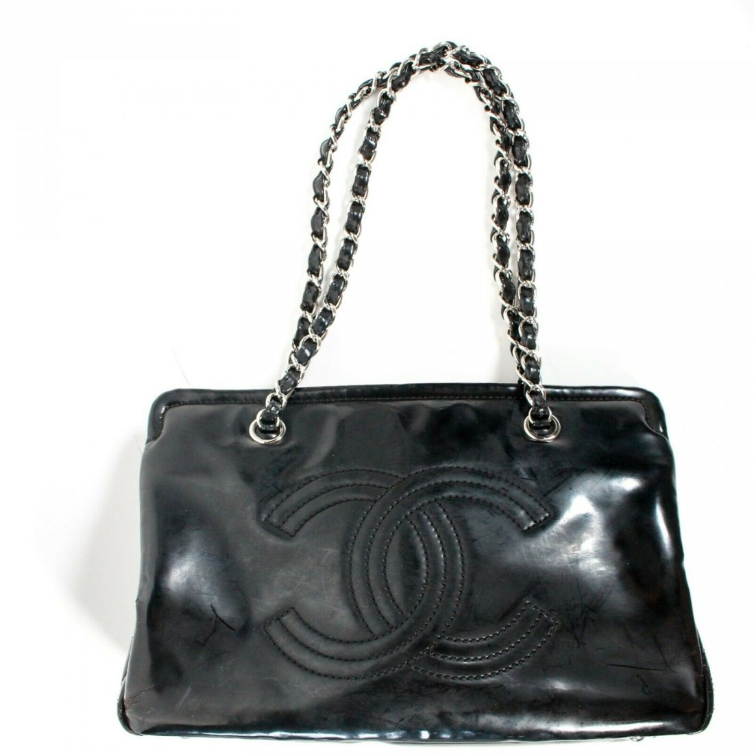 Chanel - Large CC Tote Bag - Black Patent Leather