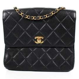 Chanel - Black Caviar Square Crossbody - Gold CC Clasp
