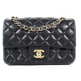 Chanel - Mini Wide Navy Blue Crossbody Bag - Gold CC