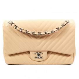 Chanel - Jumbo Chevron CC Flap Crossbody Shoulder Bag