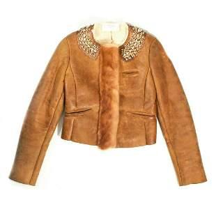 Prada - Shearling Jacket with Jeweled Mink Fur Trim