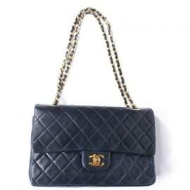 Chanel - Medium Navy Leather Double Flap Bag