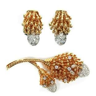 Brooch & Earrings Set - 2.5 tcw Diamonds - Yellow Gold