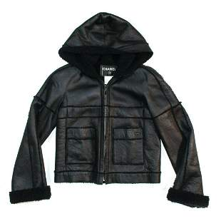 Chanel - 2007 Fur Leather Coat - Hooded Jacket CC - 4-6