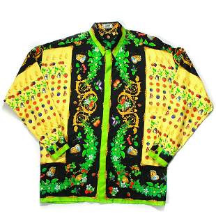Gianni Versace - Rare Mens Vintage Neon Dress Shirt - M