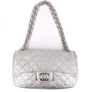 Chanel - Jumbo Metallic Silver Leather Flap Bag - CC Ch
