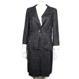 Chanel - Navy Denim Raw Edge Blazer & Skirt - US 6/8
