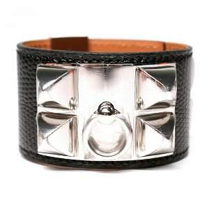Hermes - New - CDC Silver Stud Lizard Leather Bracelet
