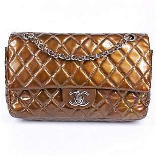 Chanel - Bronze Metallic Medium Double Flap Bag Quilted