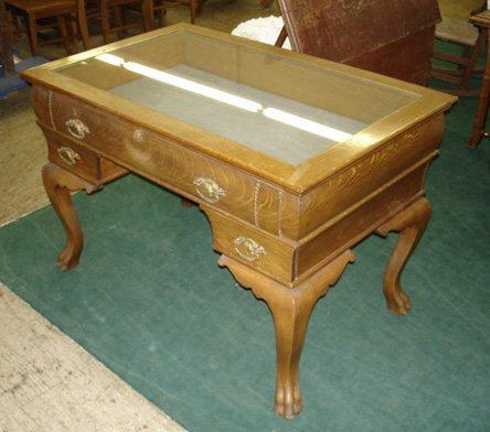 757: American Oak Showcase Library Table