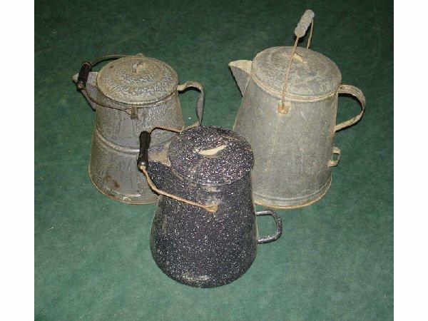 49: A Good Lot of 3 LARGE Cowboy Coffee Pots