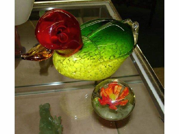4: Art Glass Duck and Murano Paperweight