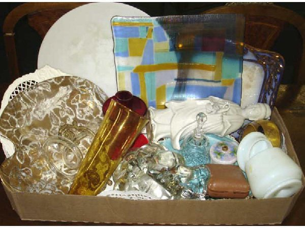 12: Boxed Lot of Assorted Glassware and Porcelains.