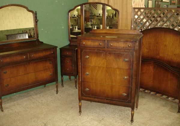 21: 1920s Walnut Bedroom Set Complete