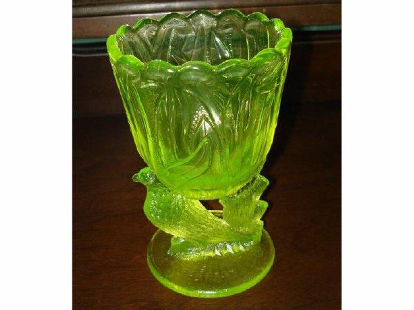 23: Vaseline Glass Love Birds Spooner
