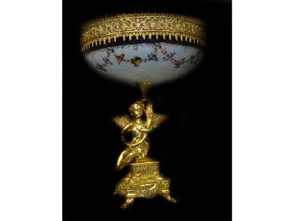 761: Fine Dresden Style Dore Bronze Cherub Compote