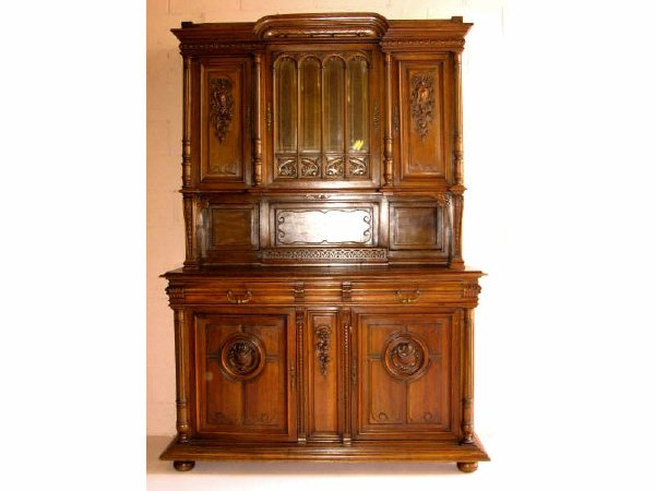 764: French Walnut Sideboard Carved Panels