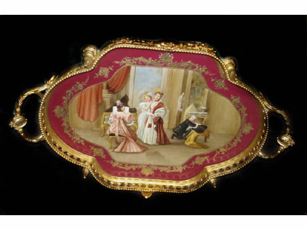 768: Fine Romantic Scene Porcelain Tray with Bronze