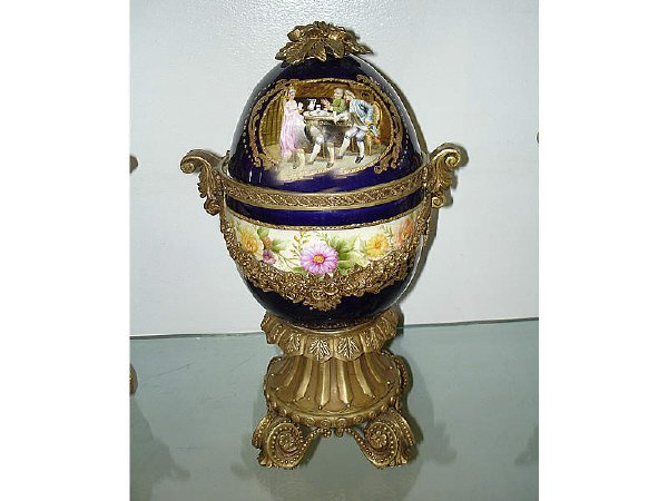 780: Fabulous Bronze Mounted Porcelain Egg Shape Jar