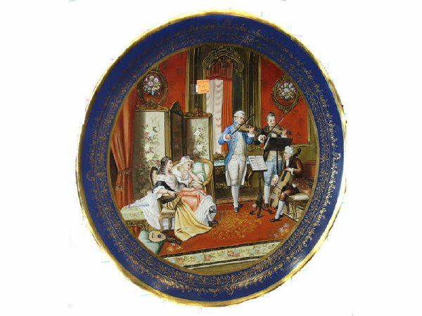783: Hand Decorated Colonial Scene Charger