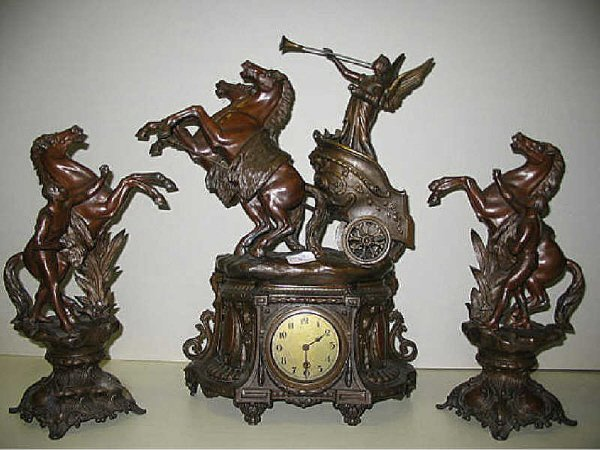 881: Figural Horses Clock Set French 19th Century