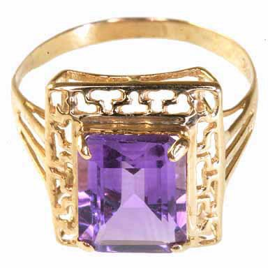 254: Solid Gold and Amethyst Estate Ring