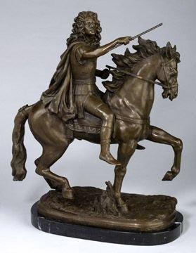 264: Fine Bronze Rider and Horse Figural