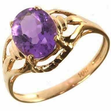 265: Fine Solid Gold Setting Amethyst RIng