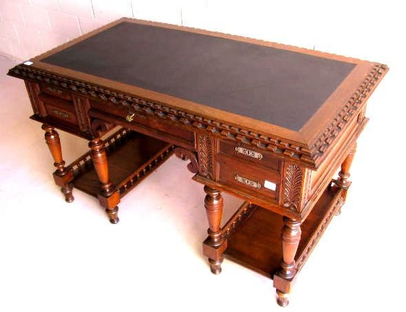270: Finely Carved French Oak Desk with Leather Top