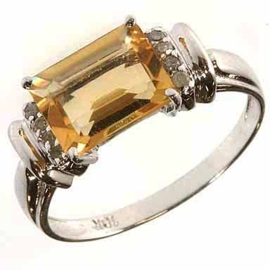 273: Citrine and Diamond Ring in Solid White Gold