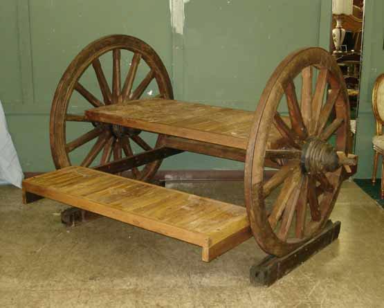 1099: Rustic Antique Wagon Wheel Picnic Bench