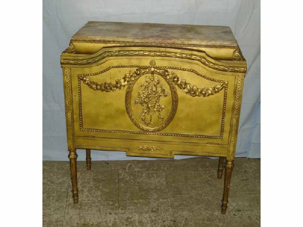 1196: Very Fine Gilt French Cabinet with Alabaster Top