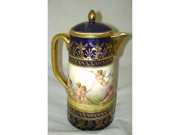 1213: Fine Signed Dresden Porcelain Chocolate Pot