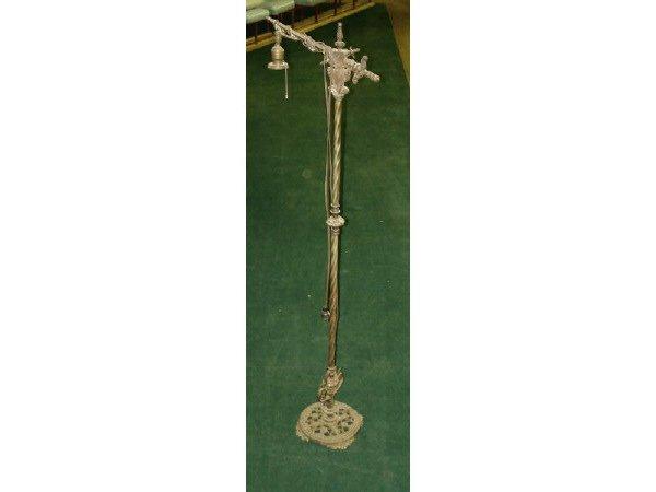 1073: Antique Cast Iron Angle Floor Lamp