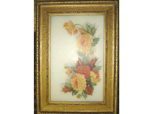 1077: 19th Century Floral Scene on Porcelain