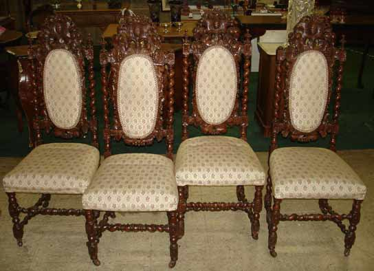 1078: Set of Heavy Carved Oak Chairs