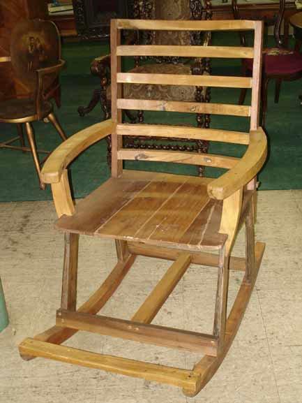 1084: Solid Teakwood Rocking Chair