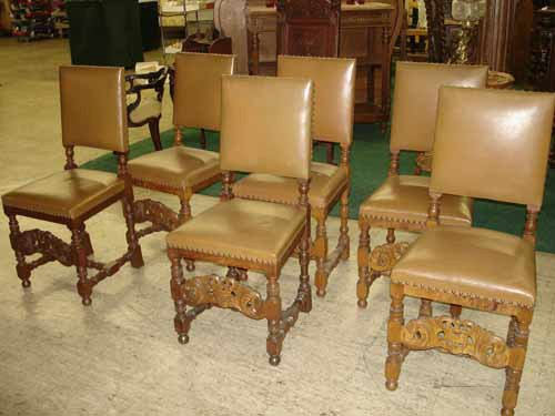 1088: Set of 6 Oak Leather Chairs Carved Crown