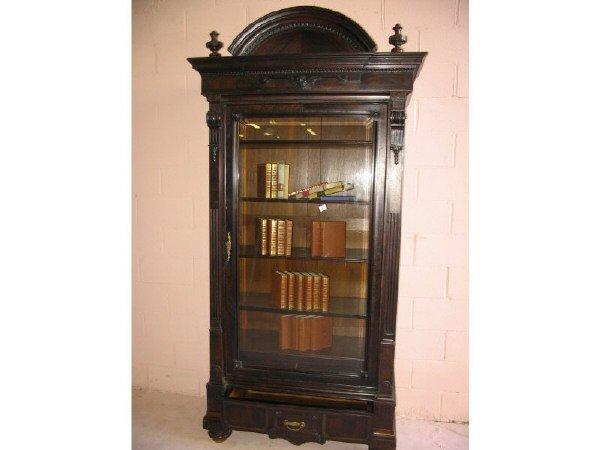 1: Victorian Burled Black Walnut Bookcase