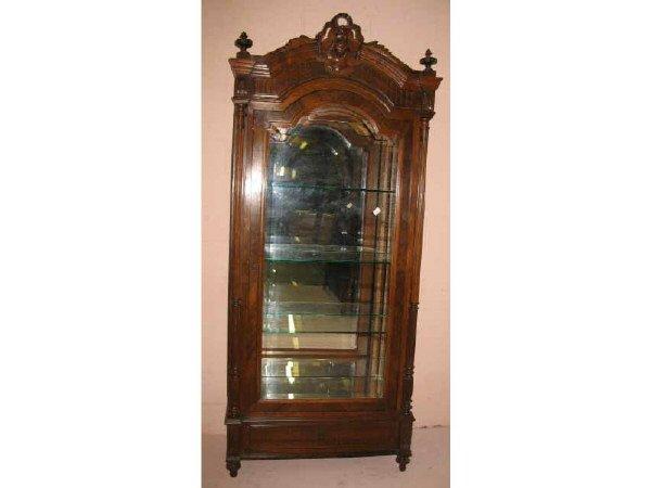 2: Louis XV Walnut Ribbon Carved China Cabinet