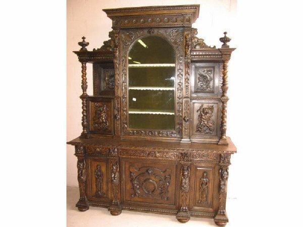 4: Fine Heavy Carved Oak Sideboard