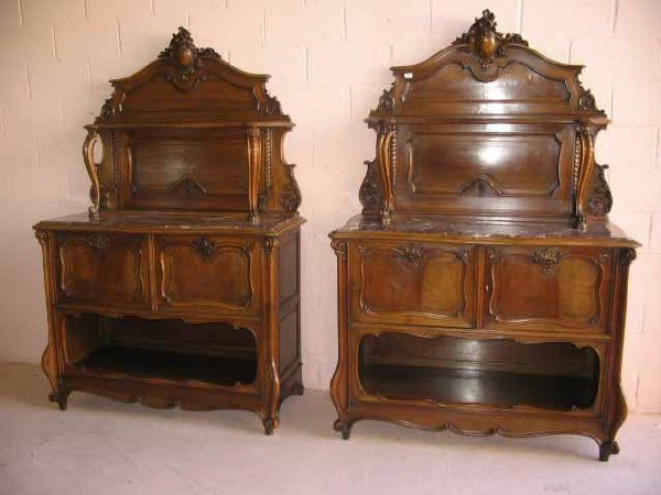 6: Pair of French Walnut Marble Insert Servers