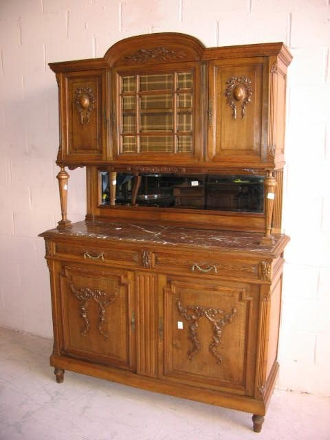 8: French Marble Top Sideboard with Cabinet Upper Secti
