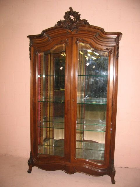 9: Fine French Walnut Double Door China Cabinet