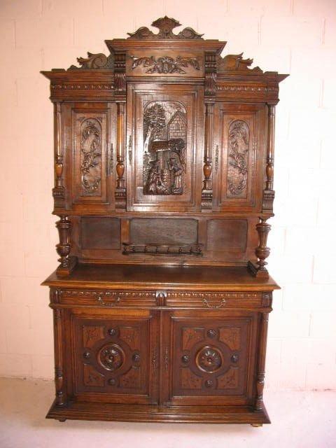 10: French Oak Hunters Cabinet Sideboard