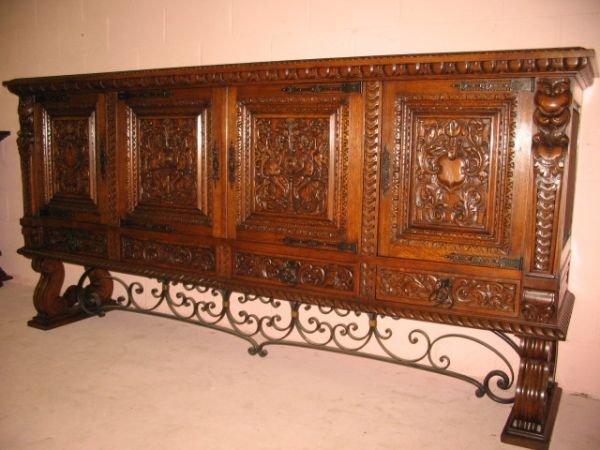 12: Heavy Carved French Oak Buffet w/ Wrought Iron Deta
