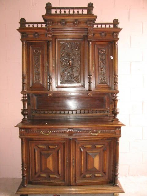 13: Carved French Oak Sideboard Hutch Cabinet