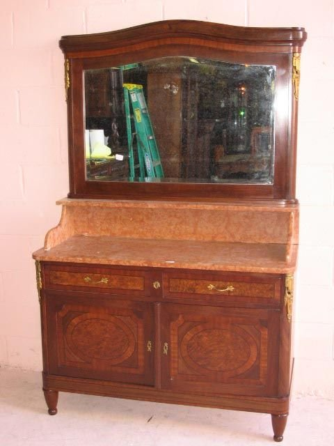14: Louis XVI Marble Top Dressing Table with Mirror