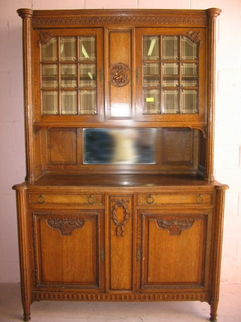 16: French Oak Art Nouveau Styled Kitchen Cabinet