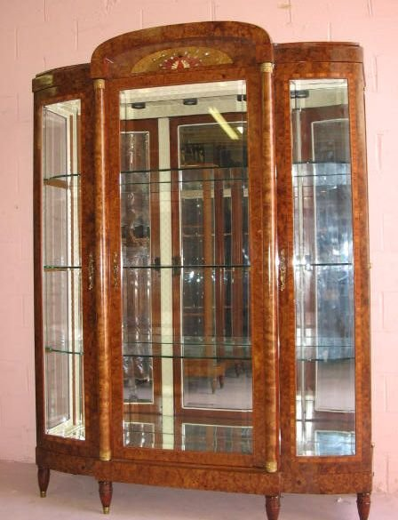 17: RARE French Triple Door China with Art Nouveau Plaq